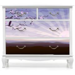 Naklejka na meble - Blooming tree and a starling
