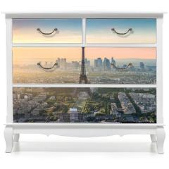 Naklejka na meble - Paris Skyline Panorama bei Sonnenuntergang mit Eiffelturm