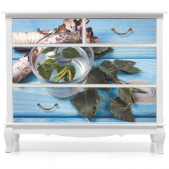 Naklejka na meble - A glass of birch juice on wooden background