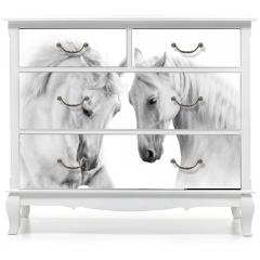 Naklejka na meble - Couple of white horse on white background