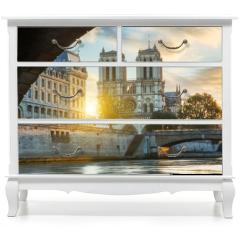 Naklejka na meble - Notre dame de Paris and Seine river in Paris, France