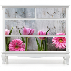 Naklejka na meble - Spring flowers on shabby wood