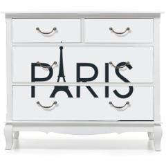 Naklejka na meble - Tipografia PARIS con torre Eiffel en fondo gris