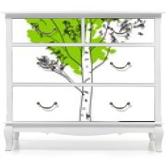 Naklejka na meble - Stylized birch tree with green crown and white trunk
