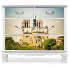 Naklejka na meble - Notre Dame de Paris at spring, France
