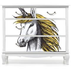 Naklejka na meble - Unicorn horse sketch of fairy or heraldic animal