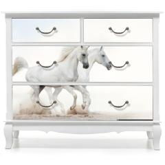 Naklejka na meble - White stallions running gallop