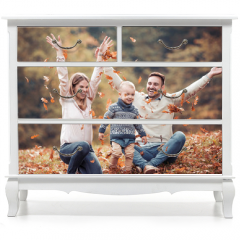 Naklejka na meble - Happy family having fun in autumn forest