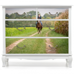 Naklejka na meble - Junge Frau auf Pferd im Galopp