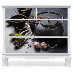 Naklejka na meble - Various tea in spoons and teapot