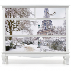 Naklejka na meble - Scenic view to the Eiffel tower on a day with heavy snow