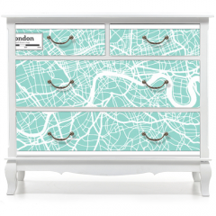 Naklejka na meble - London England City Map in Retro Style. Outline Map.