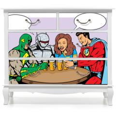 Naklejka na meble - Superheroes having beer, celebrating good times.