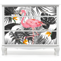 Naklejka na meble - Tropical vector seamless pattern with flamingo.