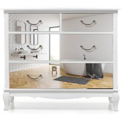 Naklejka na meble - White bathroom corner, tub and sinks