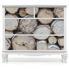 Naklejka na meble - vertical orientation of sawed ends of a pile of white birch fire wood
