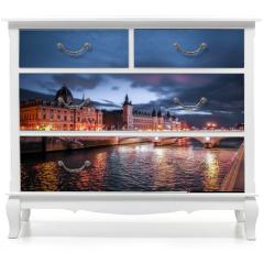 Naklejka na meble - Paris at Night- Bridge, Palace and Island of city