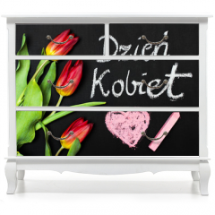 "Naklejka na meble - Women's Day card and a bouquet of beautiful tulips on blackboard background, with Polish words ""Women's Day"""