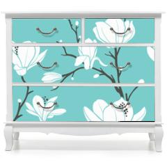 Naklejka na meble - blue magnolia pattern