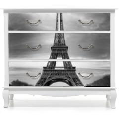 Naklejka na meble - Tour Eiffel et voiture rouge- Paris