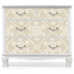 Naklejka na meble - Seamless White Floral Pattern