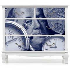 Naklejka na meble - watch and portrait of Benjamin Franklin on hundred Dollar bill