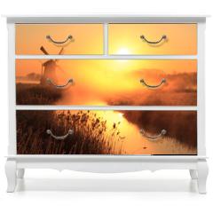 Naklejka na meble - Windmill sunrise