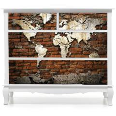 Naklejka na meble - Cement world map