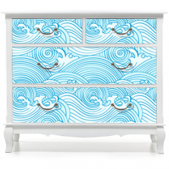 Naklejka na meble - Japanese seamless waves pattern in ocean colors