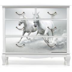 Naklejka na meble - White horses