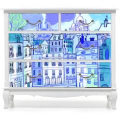 Naklejka na meble - Paris in watercolor style