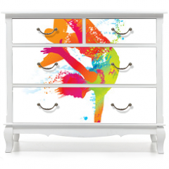 Naklejka na meble - The dancing boy with colorful spots and splashes. Vector
