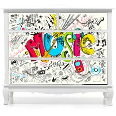 Naklejka na meble - Music Doodle