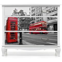 Naklejka na meble - Cabine téléphonique et bus rouges à Londres (UK)