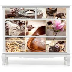 Naklejka na meble - Spa collage with magnolia flower