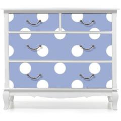 Naklejka na meble - Retro seamless vector pattern with polka dots, blue background