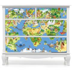 Naklejka na meble - Great and funny world map