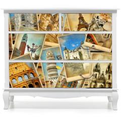 Naklejka na meble - vintage travel collage background