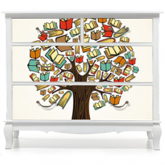 Naklejka na meble - Education concept tree with books