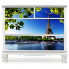 Naklejka na meble - Seine in Paris with Eiffel tower