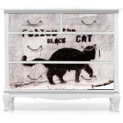 Naklejka na meble - black cat graffiti