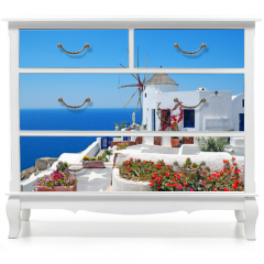 Naklejka na meble - Traditional architecture of Oia village at Santorini island in G
