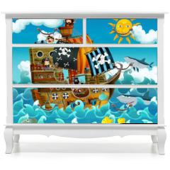 Naklejka na meble - The pirates on the sea - illustration for the children