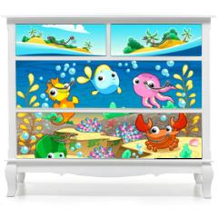 Naklejka na meble - Happy marine family under the sea.