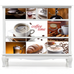 Naklejka na meble - coffee collage with different cups, coffee mill and croissant