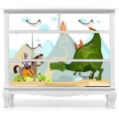 Naklejka na meble - dragon and knight