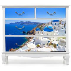 Naklejka na meble - White architecture of Oia village on Santorini island, Greece
