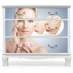 Naklejka na meble - concept of cosmetic skin care.  face of young woman with dry ski