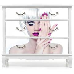 Naklejka na meble - Makeup and Manicured polish nails. Fashion Style Beauty Woman Po