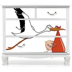 Naklejka na meble - Stork and baby